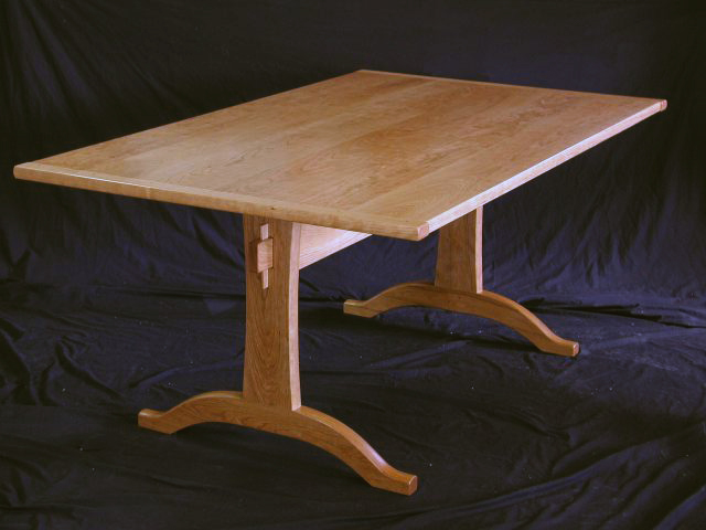 cherry dining table, trestle table