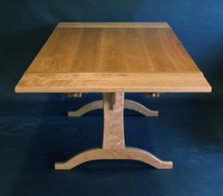 trestle table, leaves, cherry, trestle table with leaves, custom, dining table, hand made