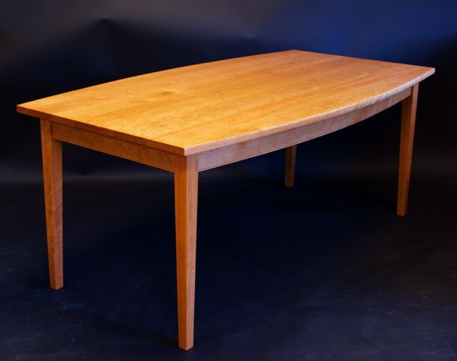 cherry dining table, custom, hand made, boat top