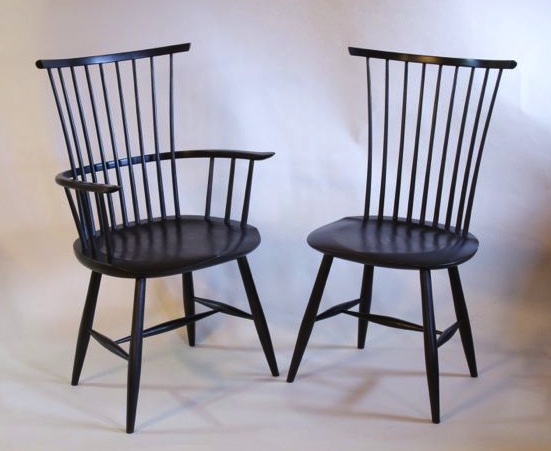 Contemporary Windsor Chairs With Natural And Milkpaint Finish